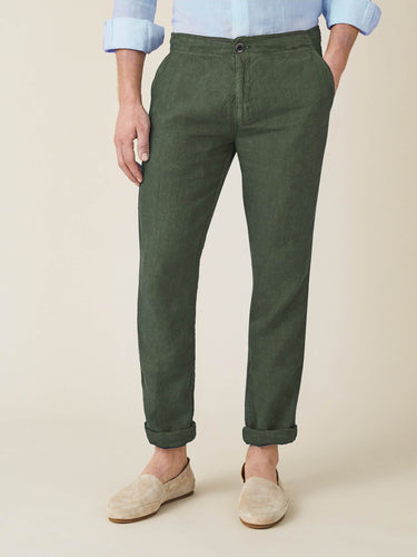 Luca Faloni Khaki Green Lipari Linen Trousers Made in Italy