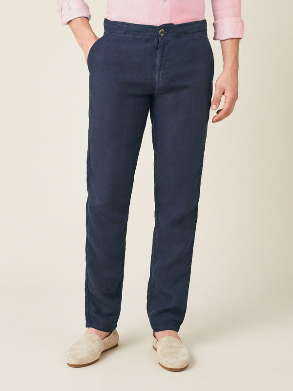 Luca Faloni Navy Blue Lipari Linen Trousers Made in Italy
