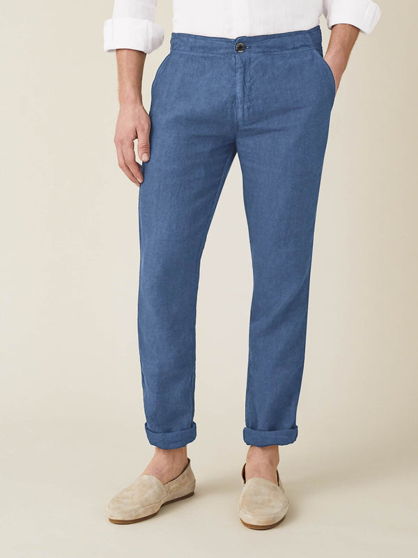 Luca Faloni Capri Blue Lipari Linen Trousers Made in Italy