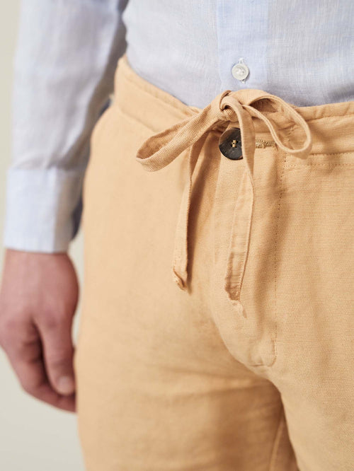 Luca Faloni Mandarin Orange Panarea Linen-Cotton Shorts Made in Italy