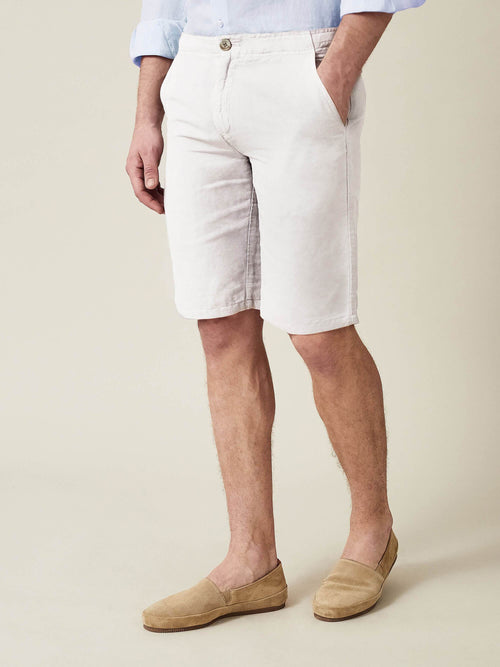 Luca Faloni White Panarea Linen-Cotton Shorts Made in Italy