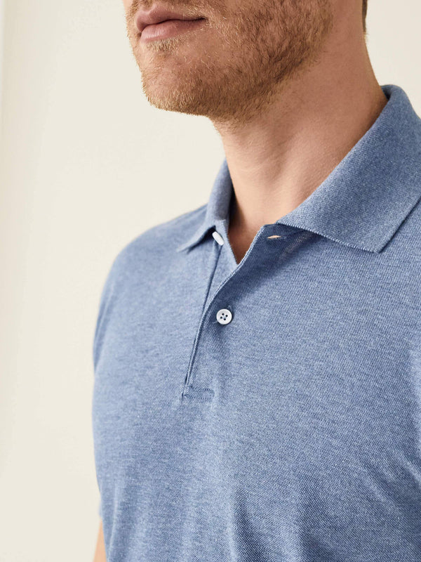 Luca Faloni Steel Blue Short Sleeved Polo Made in Italy