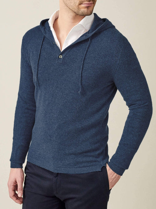 Luca Faloni Atlantic Blue Pure Cashmere Hoodie Made in Italy
