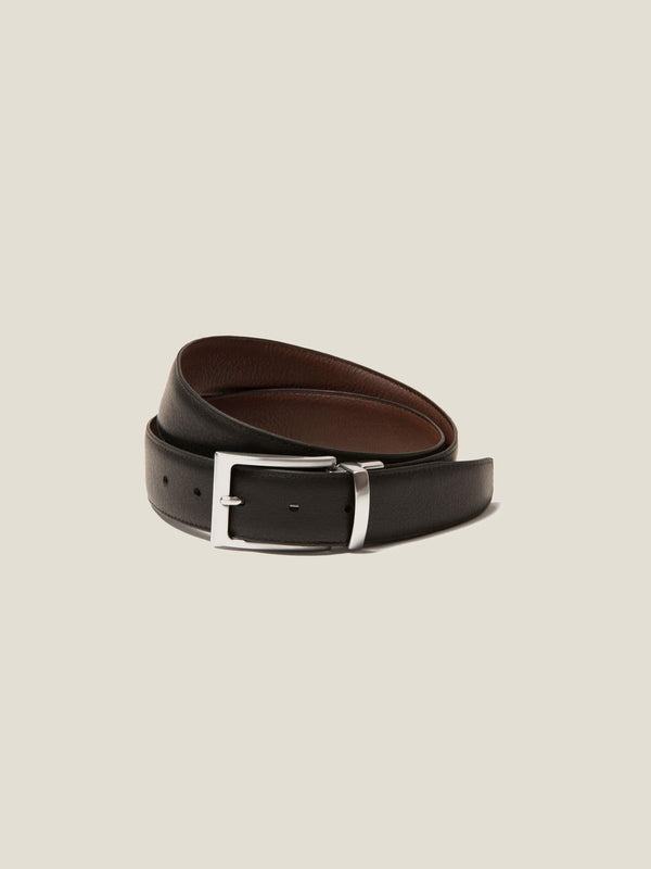 Luca Faloni Reversible Black/Brown Calf Leather Belt Made in Italy
