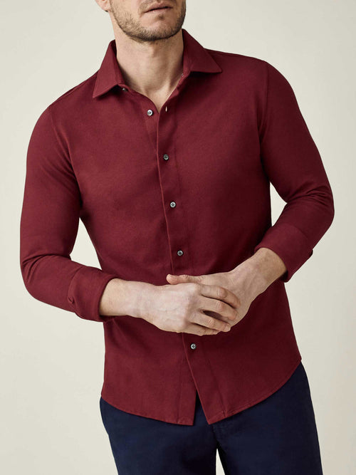 Luca Faloni Burgundy Siena Piqué Shirt Made in Italy