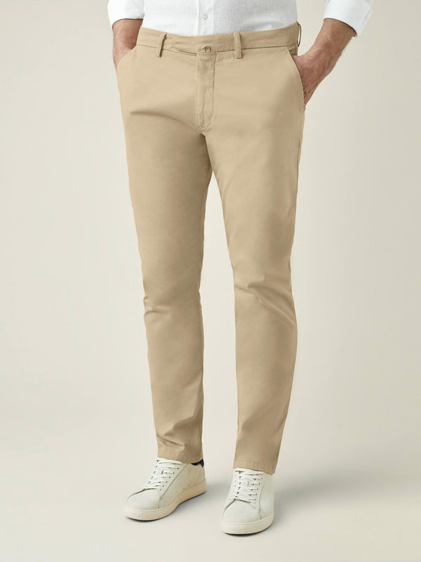 Camel Beige Lightweight Cotton Chinos