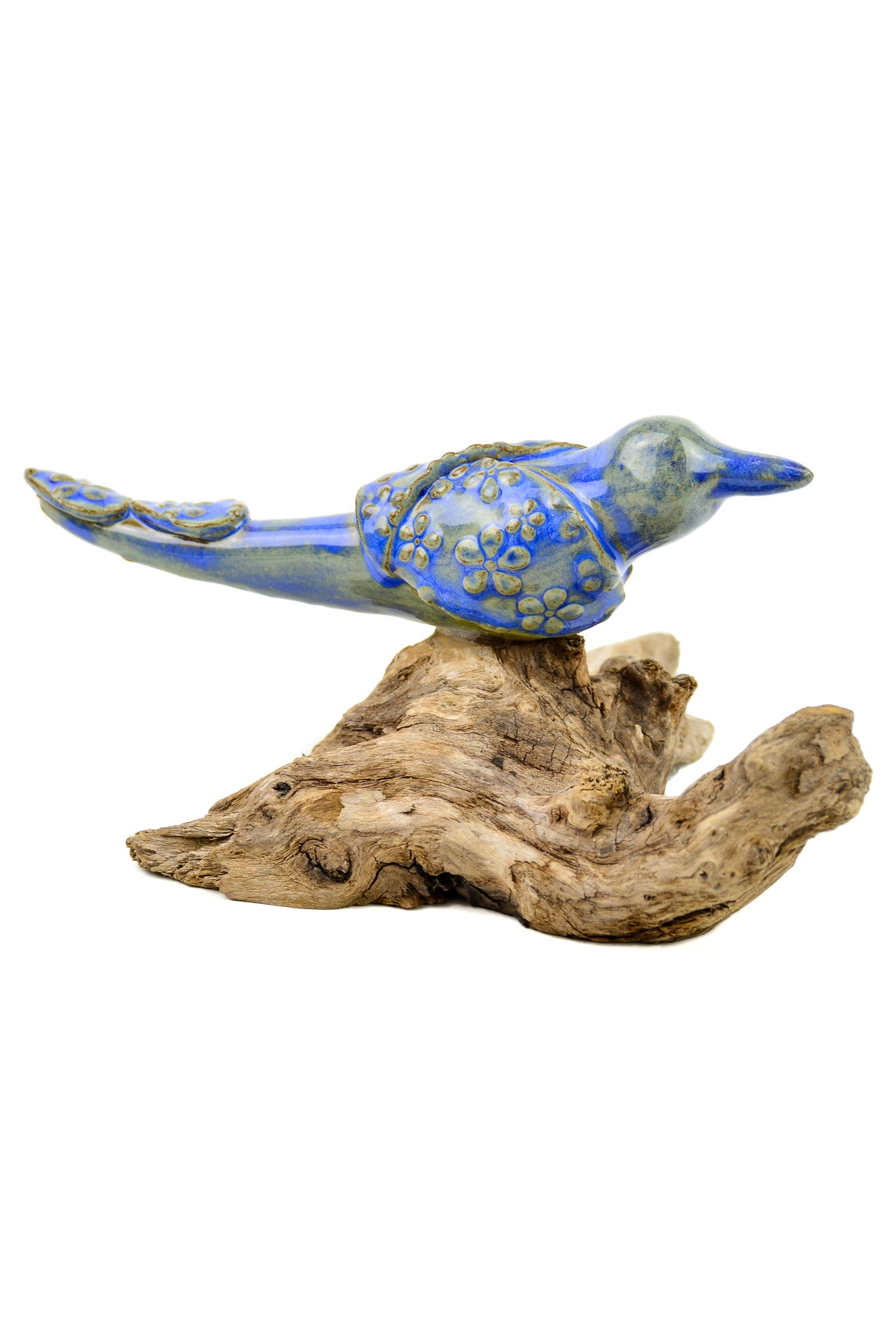 Ceramic Bird on Driftwood