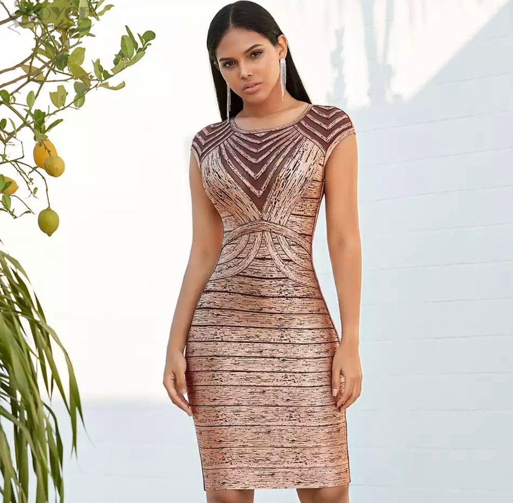 Bronze Bomber Bandage Dress