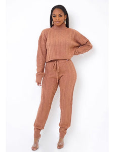 Ceri Brown Sweater Set-Use Coupon Code: FLASH40