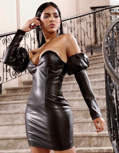 Katt Faux Leather Dress. Use Coupon Code: FLASH40