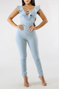 Ruffle Denim Jumpsuit. Use Coupon Code: FLASH40