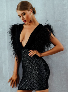 Giselle Feather Dress. Use Coupon Code: FLASH40