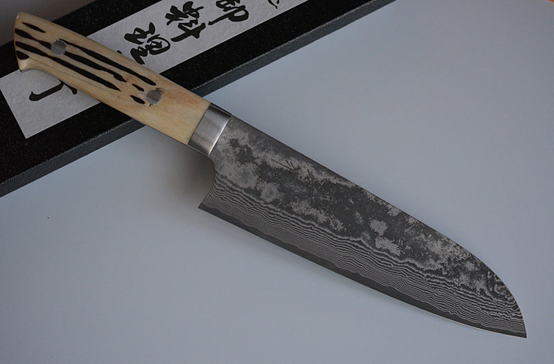 CS201 Japanese Santoku knife Saji - VG10 Black Damascus steel 180mm