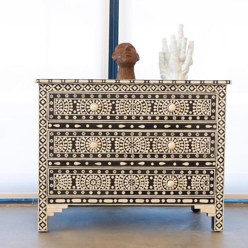 Bone Inlay Circular Flower Pattern 3 Drawers Chest