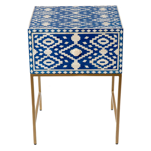 Bone Inlay Bedside Blue