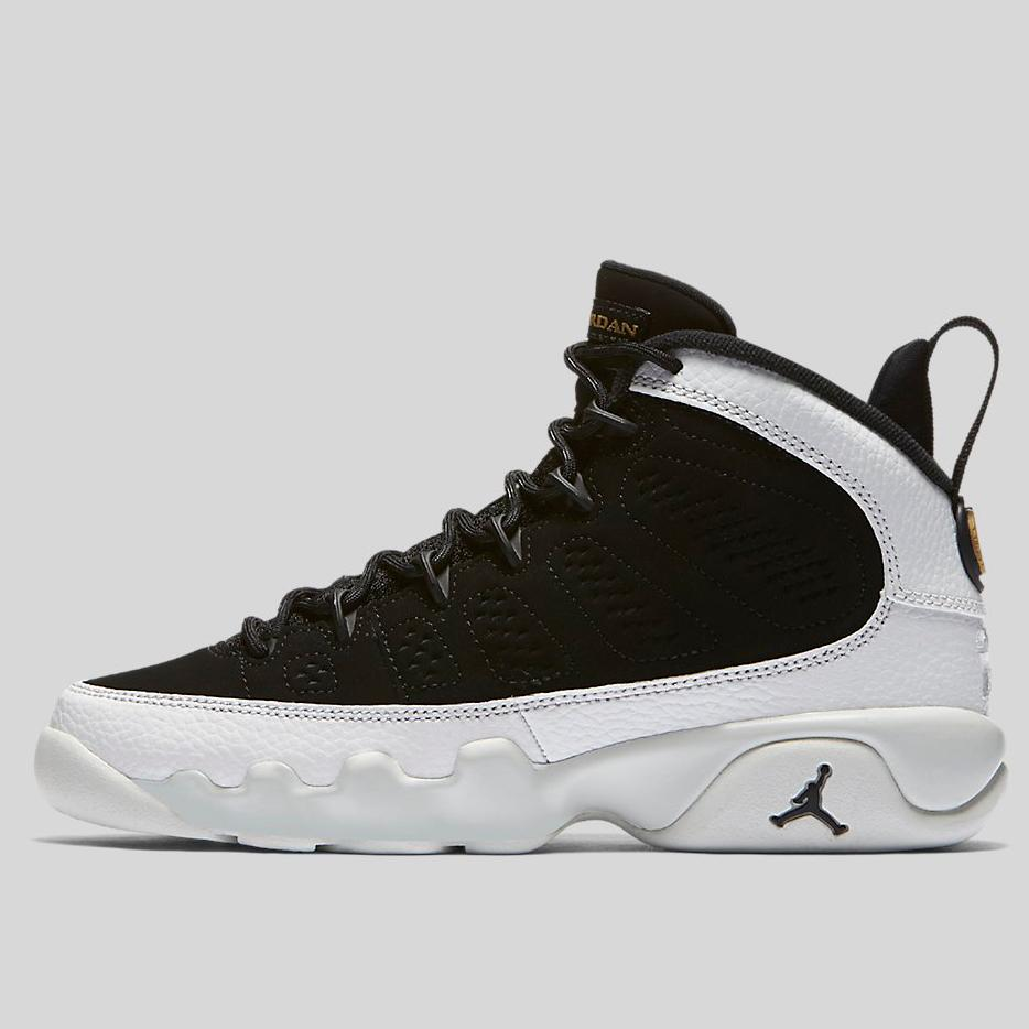 Nike AIR JORDAN 9 RETRO BG Black Black-Summit White-Metallic Gold (302359 85e1e49ba2