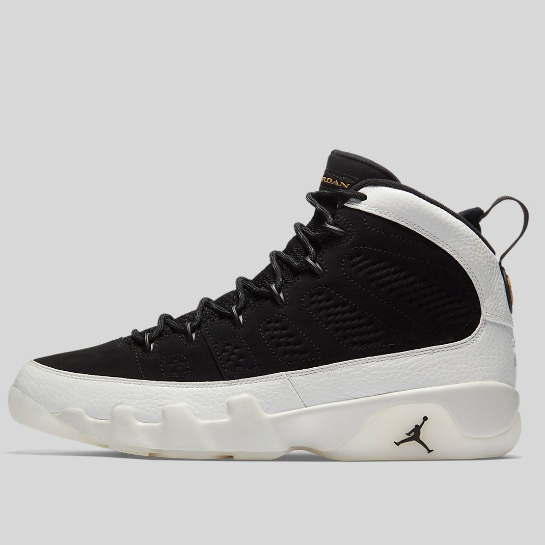 womens Air jordan 9 NIKE AIR JORDAN 9 RETRO BLACK BLACK-SUMMIT WHITE-METALLIC GOLD ...