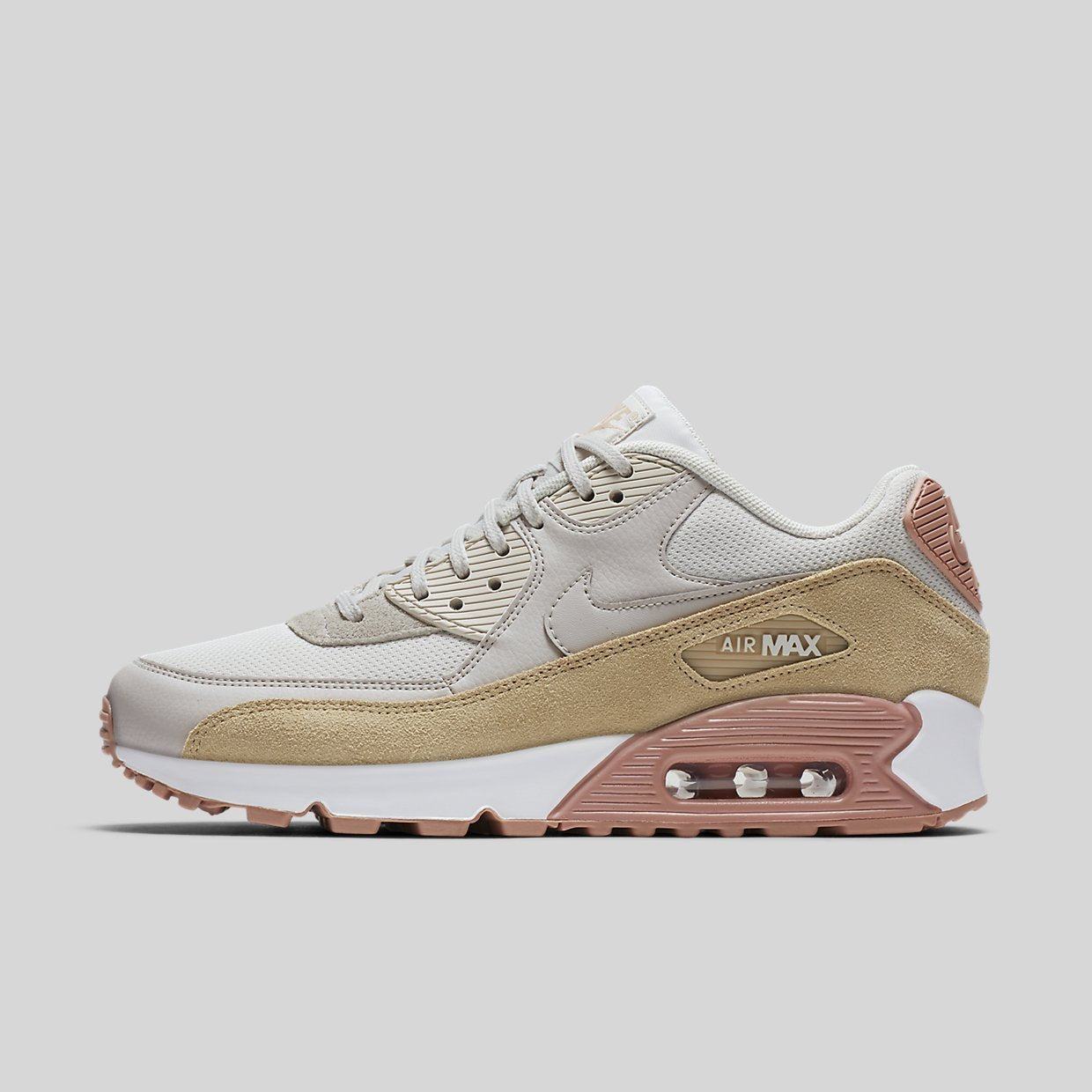 huge selection of 052b8 88fdd Nike Wmns Air Max 90 Light Bone Mushroom-Particle Pink-White