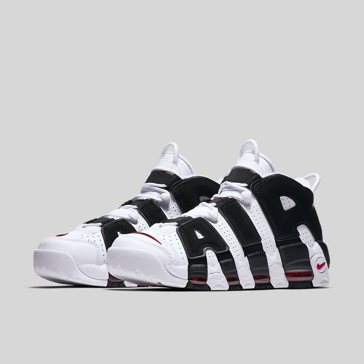 nike air uptempo black and white