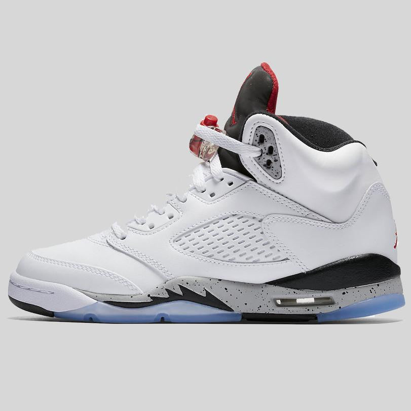 sale retailer 79d84 766f7 Nike Air Jordan 5 Retro BG (GS) White University Red Black (440888-