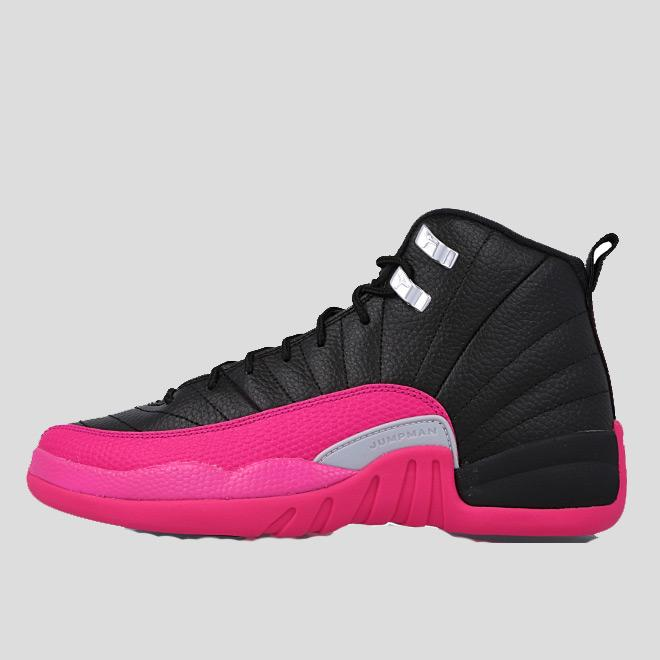 best sneakers 03ab0 636b9 Nike Air Jordan 12 Retro Gg Black Deadly Pink-Metallic Silver