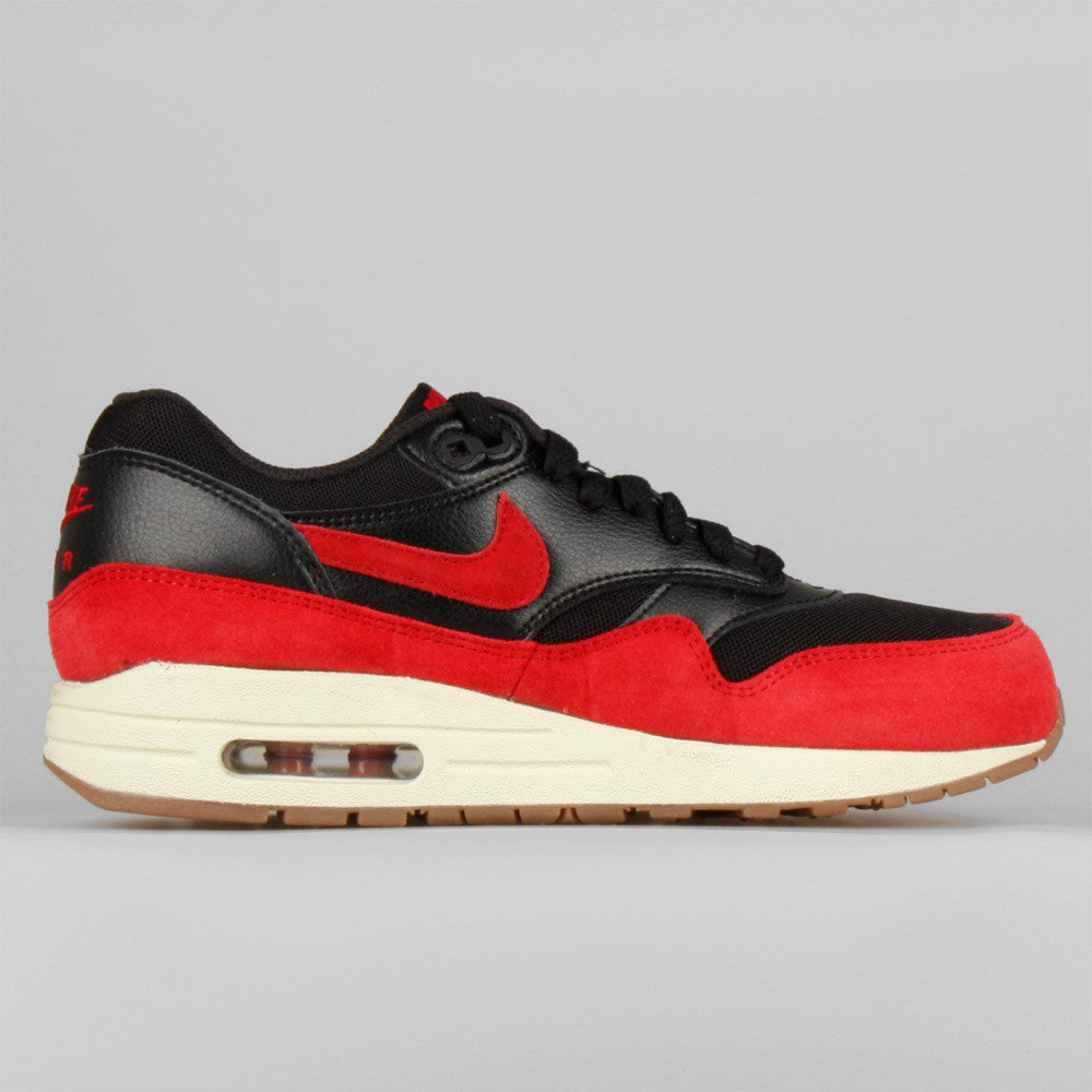 Women's Nike Wmns Air Max 1 Essential Black Gym Red Sail Gum Sneakers : P73l2518