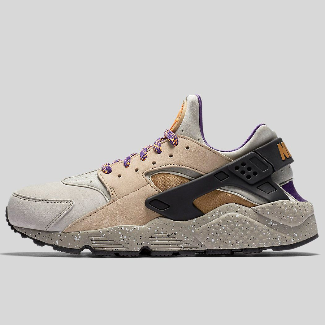Nike AIR HUARACHE RUN PRM Linen Golden Beige Black Court Purple