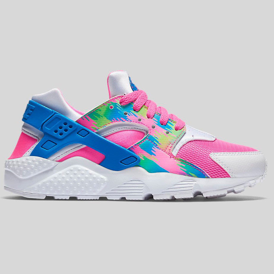 nike huarache green and pink