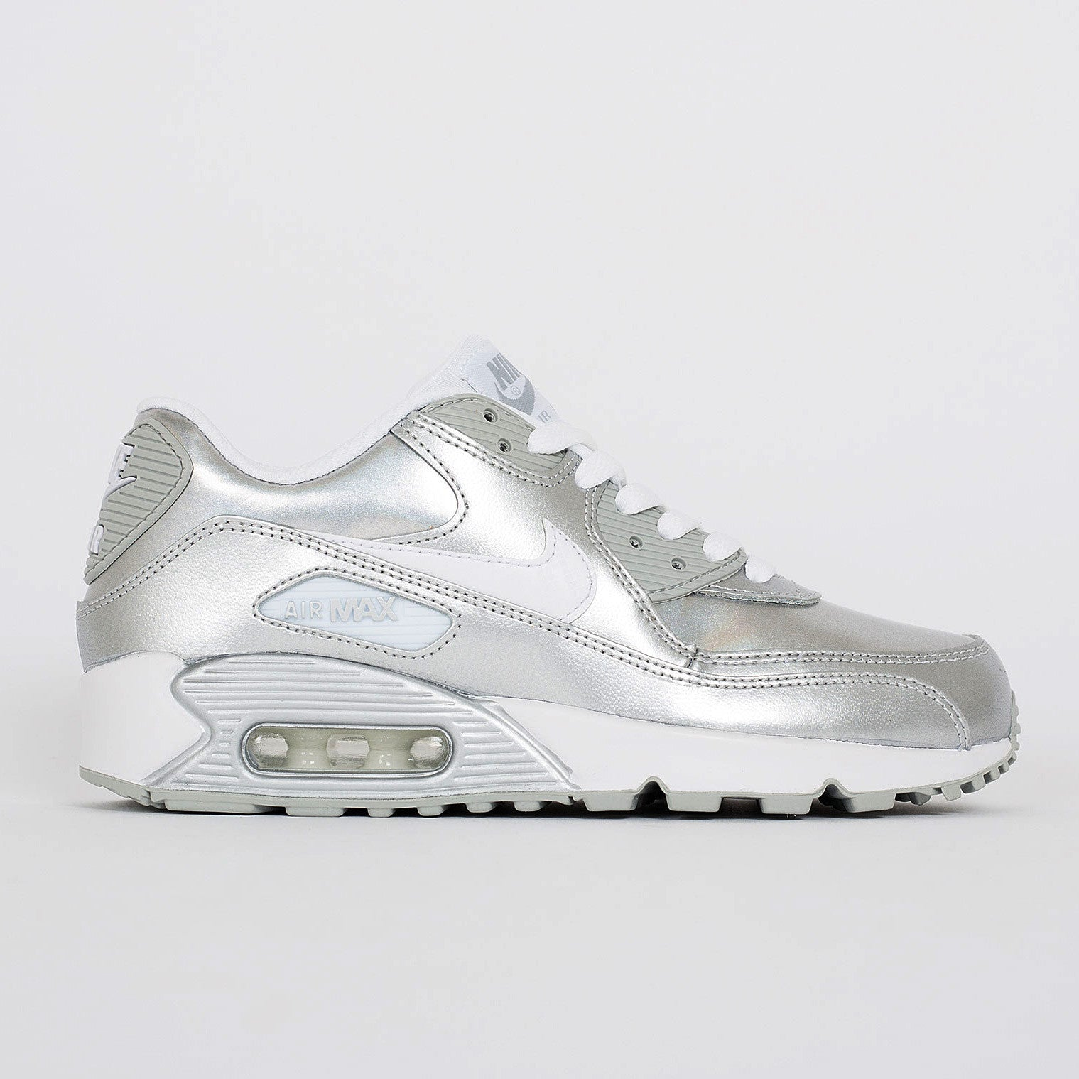 low priced 61ec1 b6120 Nike Air Max 90 Premium LTR (GS) Iridescent Silver (724871-100)   KIX-FILES