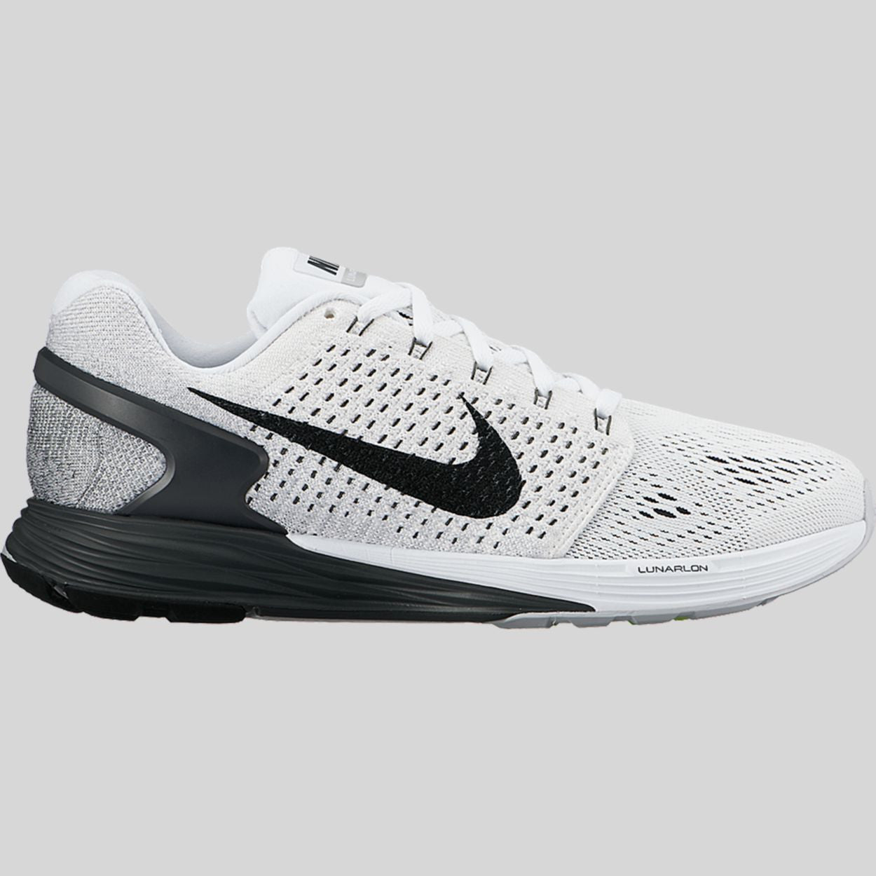 Discount Women Nike Lunarglide 7 747356-100 White Anthracite Grey Black For Sale