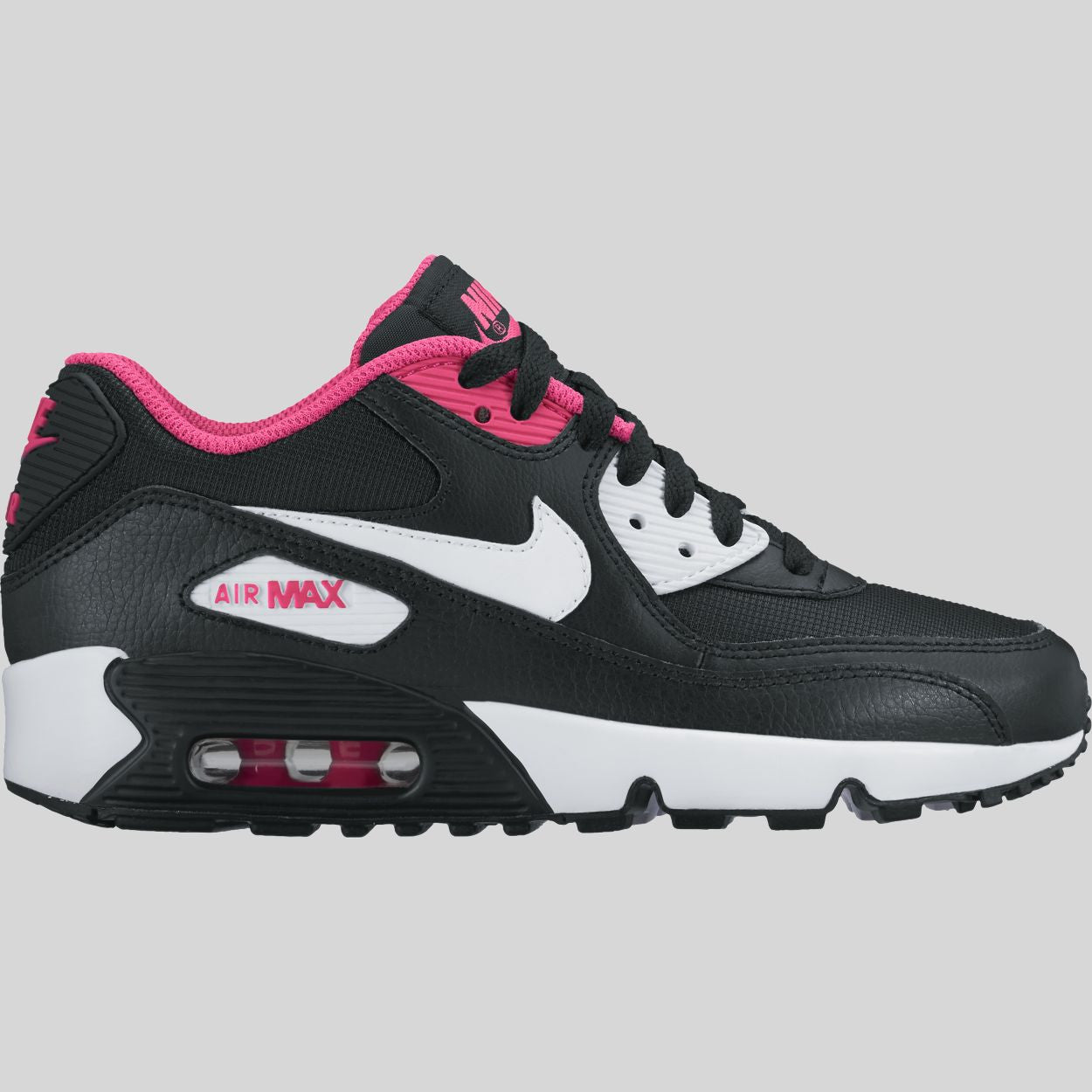 67487fd3af14 Nike Air Max 90 Mesh (GS) Black White Vivid Pink (833340-002)