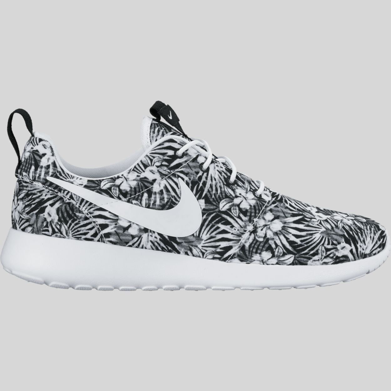 nike roshes floral black and white prints