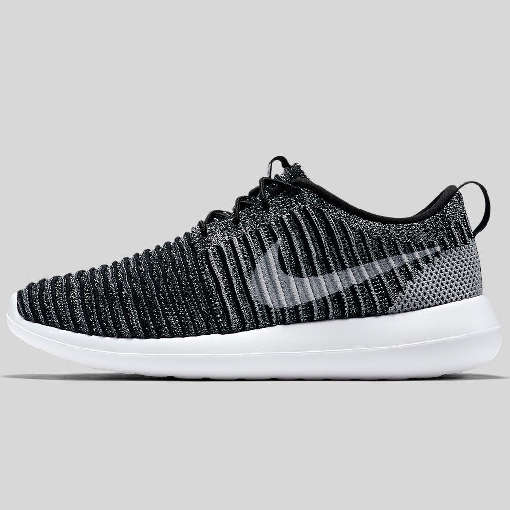 innovative design 1c687 411e9 Nike Roshe Two Flyknit Black White Wolf Grey Stadium Green (844833-007)