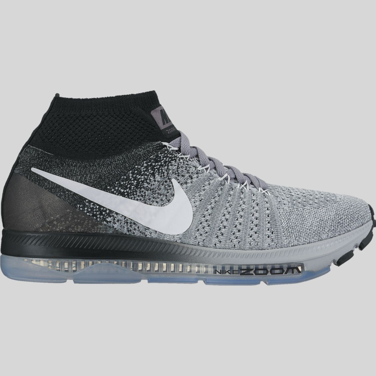 new product a9d12 7399d Nike Wmns Zoom All Out Flyknit Wolf Grey White Black Pure Platinum  (845361-003