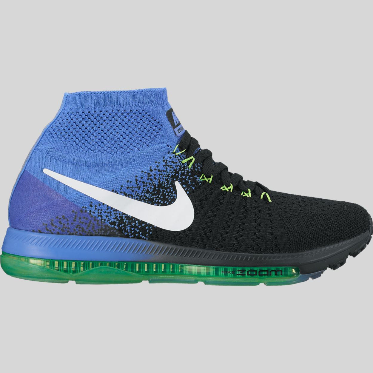 Nike Wmns Zoom All Out Flyknit Black White Medium Blue Electro Green  (845361-014