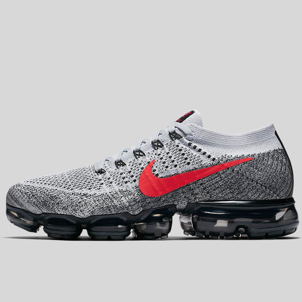 9fc9d41143 Nike AIR VAPORMAX FLYKNIT Pure Platinum University Red Black (849558-020)