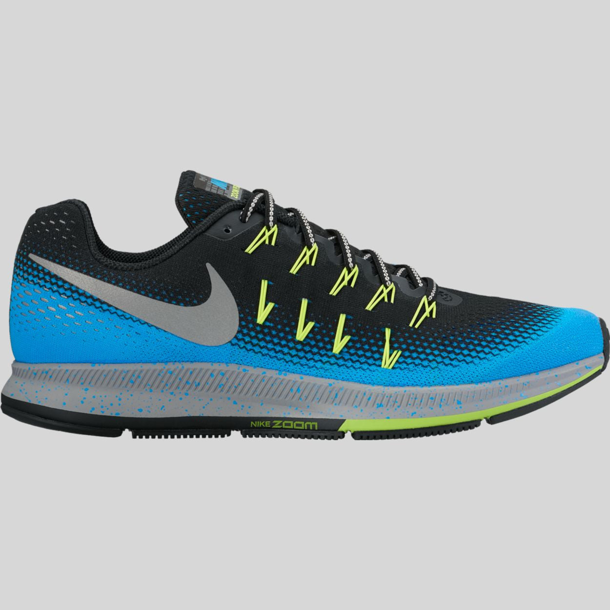 huge discount 90352 69917 Nike Air Zoom Pegasus 33 Shield Black Metallic Silver Blue Glow (849564-004)