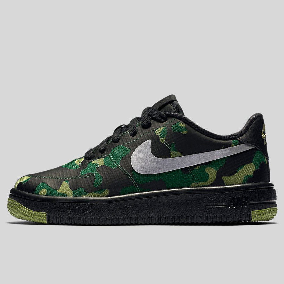 detailed look ba377 39024 Nike Air Force 1 Ultraforce SE (GS) Black Metallic Silver Palm Green (859340