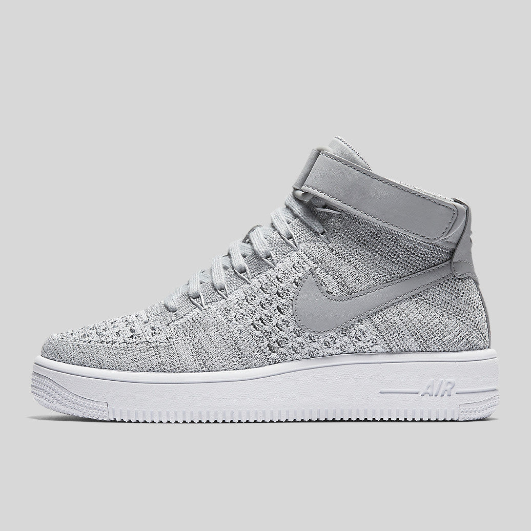 wholesale dealer 4a270 b8ab2 Nike AF1 Ultra Flyknit Mid (GS) Wolf Grey White