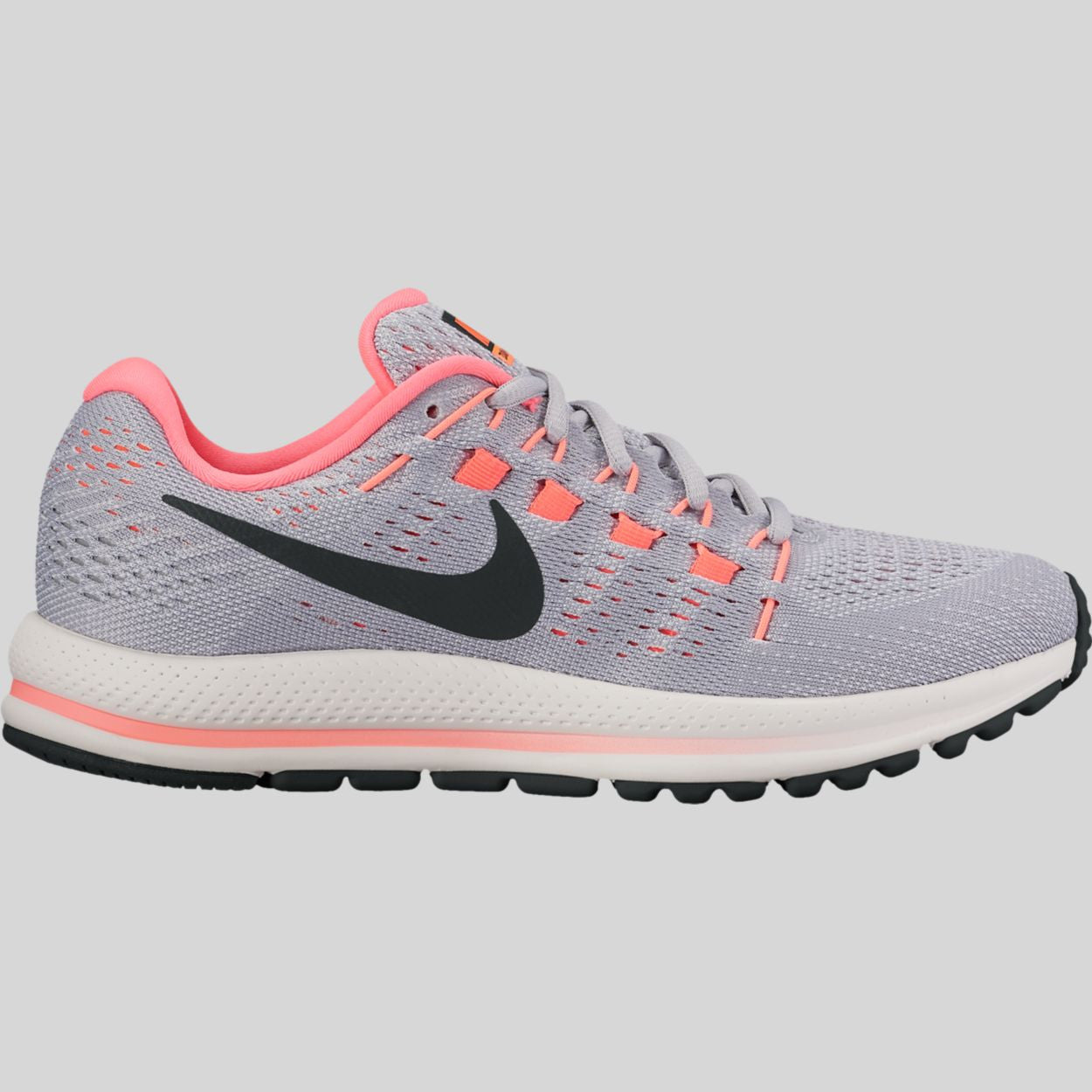 98adc305a2d32 Nike Wmns Air Zoom Vomero 12 Wolf Grey Black Pure Platinum Hot Punch  (863766-