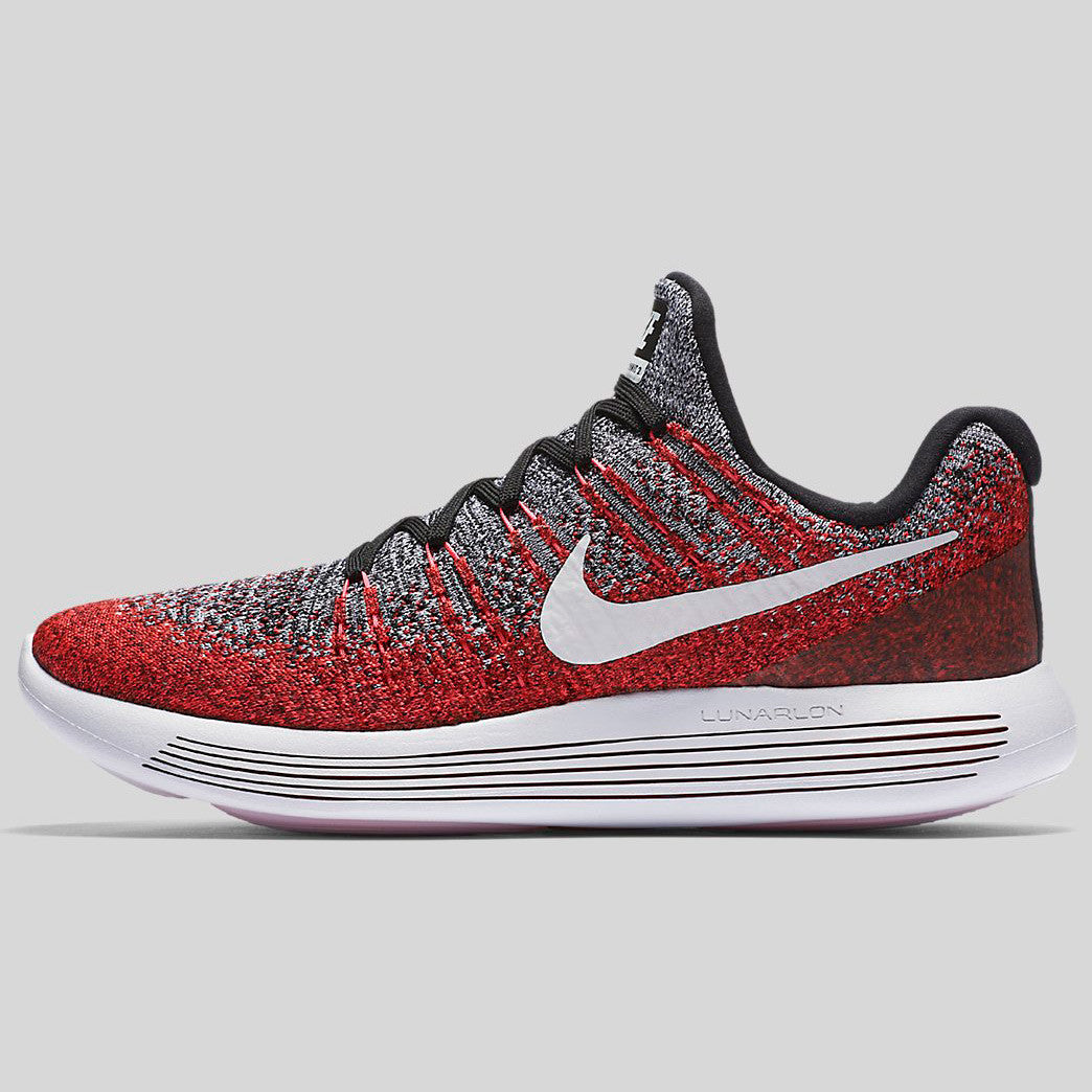 Nike Lunarepic Low Flyknit 2 Black White Hyper Punch University Red 863779005