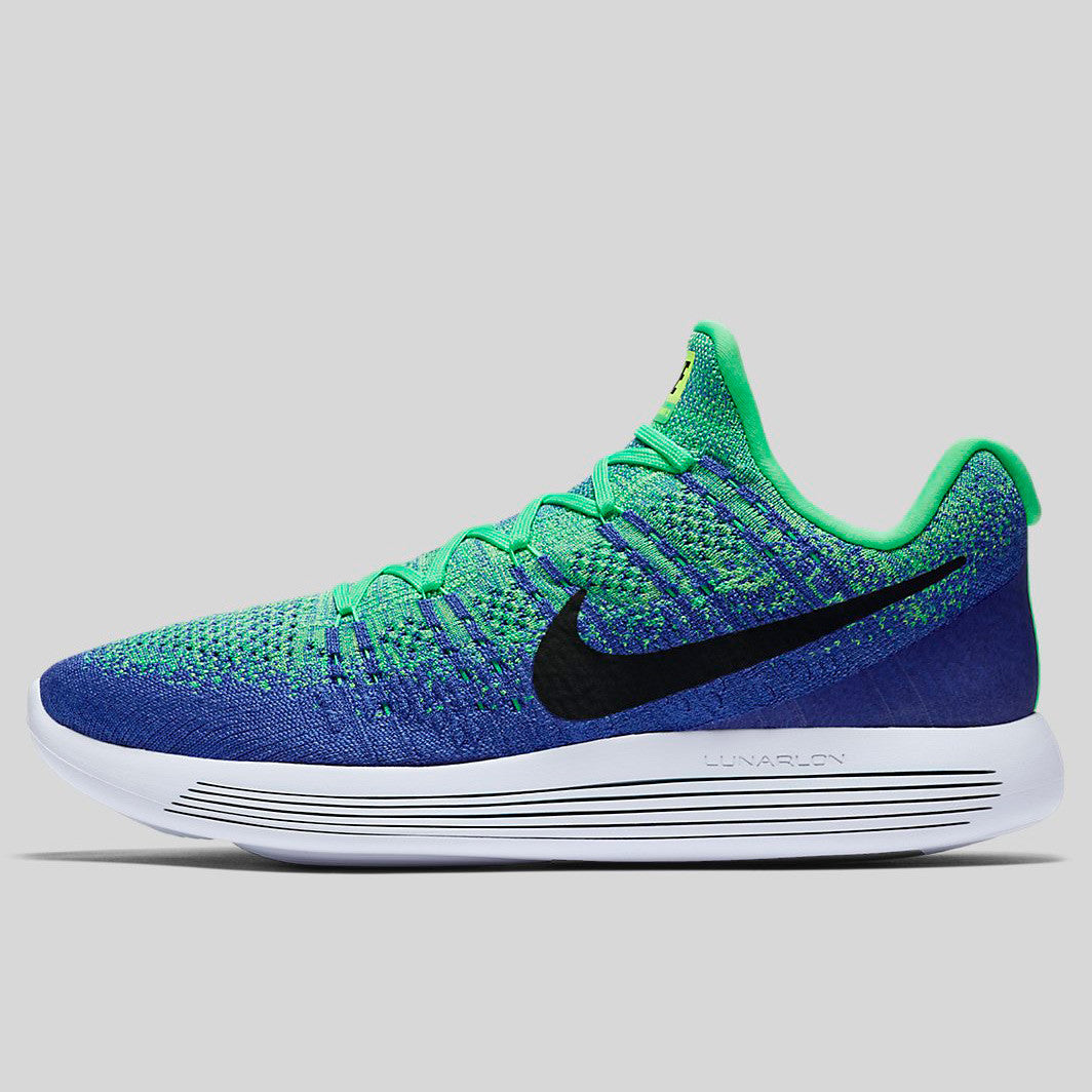 0d1b08f86c78 Nike Lunarepic Low Flyknit 2 Electro Green Black Medium Blue (863779-301)