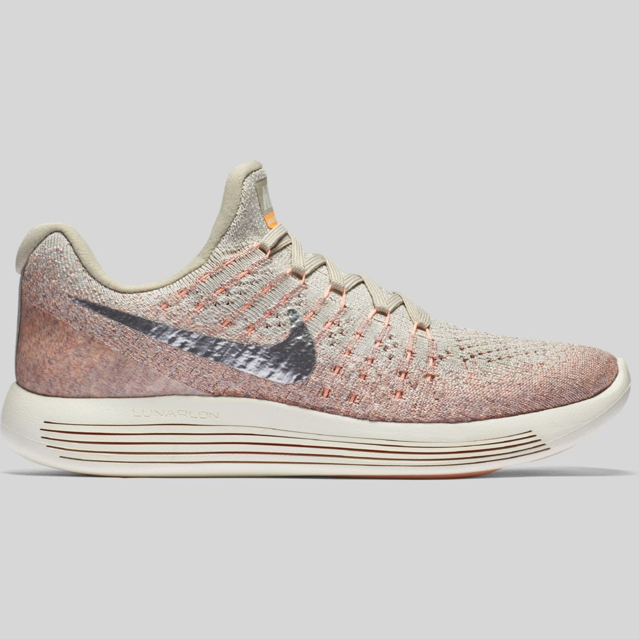 Nike LunarEpic Low Flyknit 2 Running Grey/Metallic Silver/Sunset Glow 863780 005