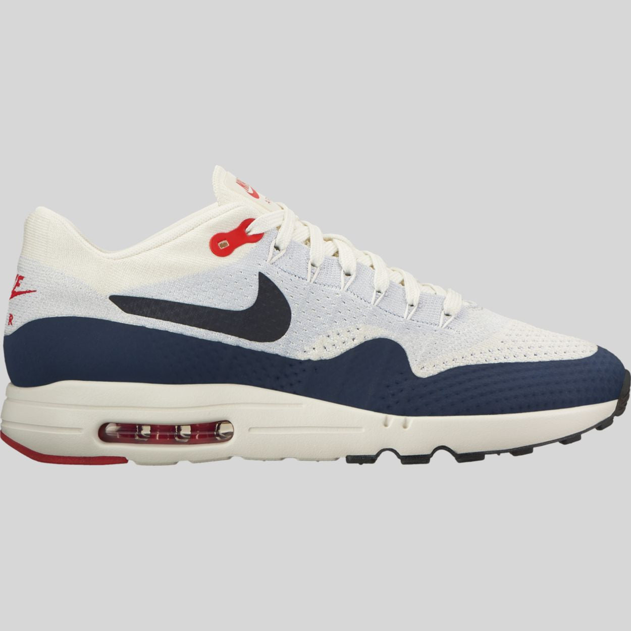 aa6288191b859 Nike Air Max 1 Ultra 2.0 Flyknit Sail Obsidian Wolf Grey University Red  (875942-