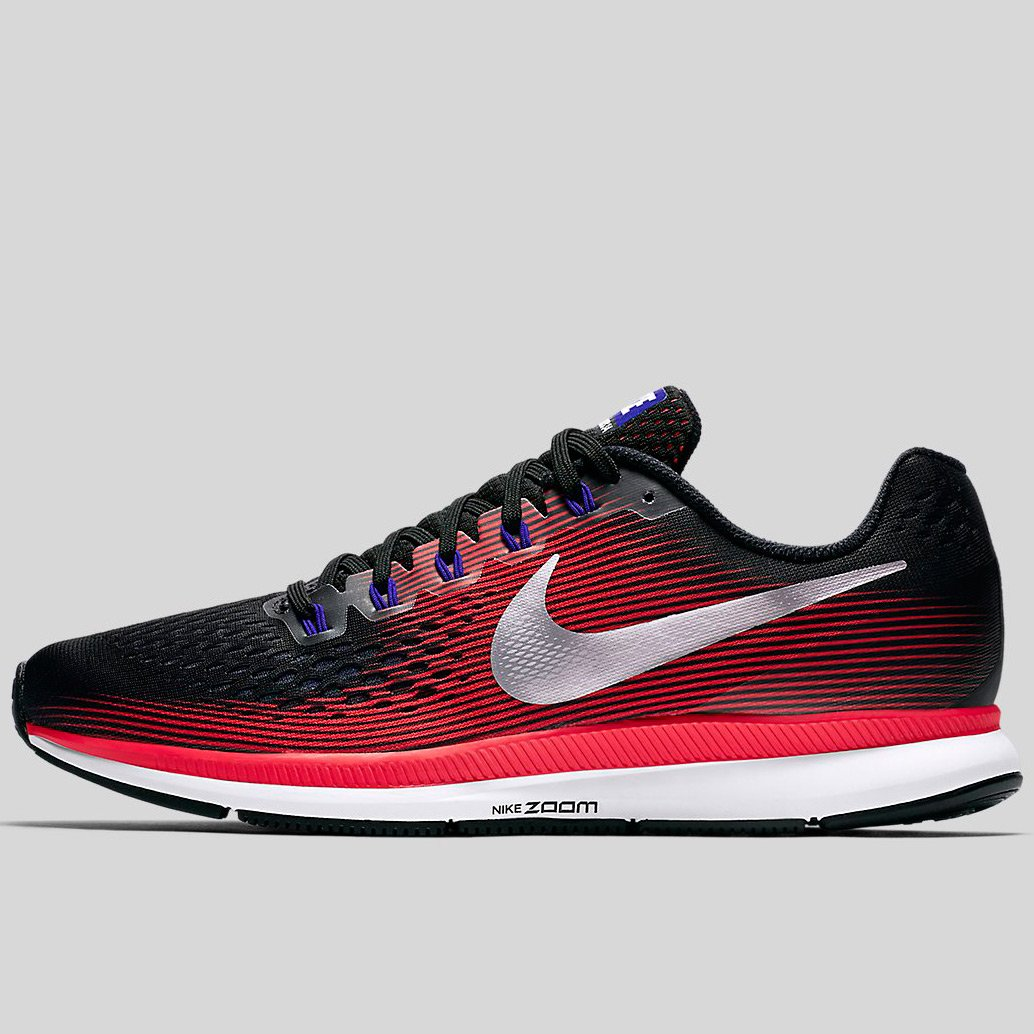 super popular 14bb8 29158 Nike Air Zoom Pegasus 34 Black Metallic Silver-Bright Crimson