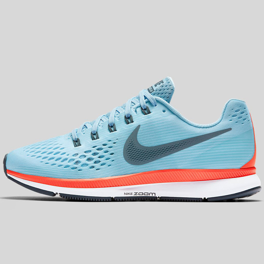 NIKE AIR ZOOM PEGASUS 34 880555-404 Ice Blue Bright Crimson White Blue Fox