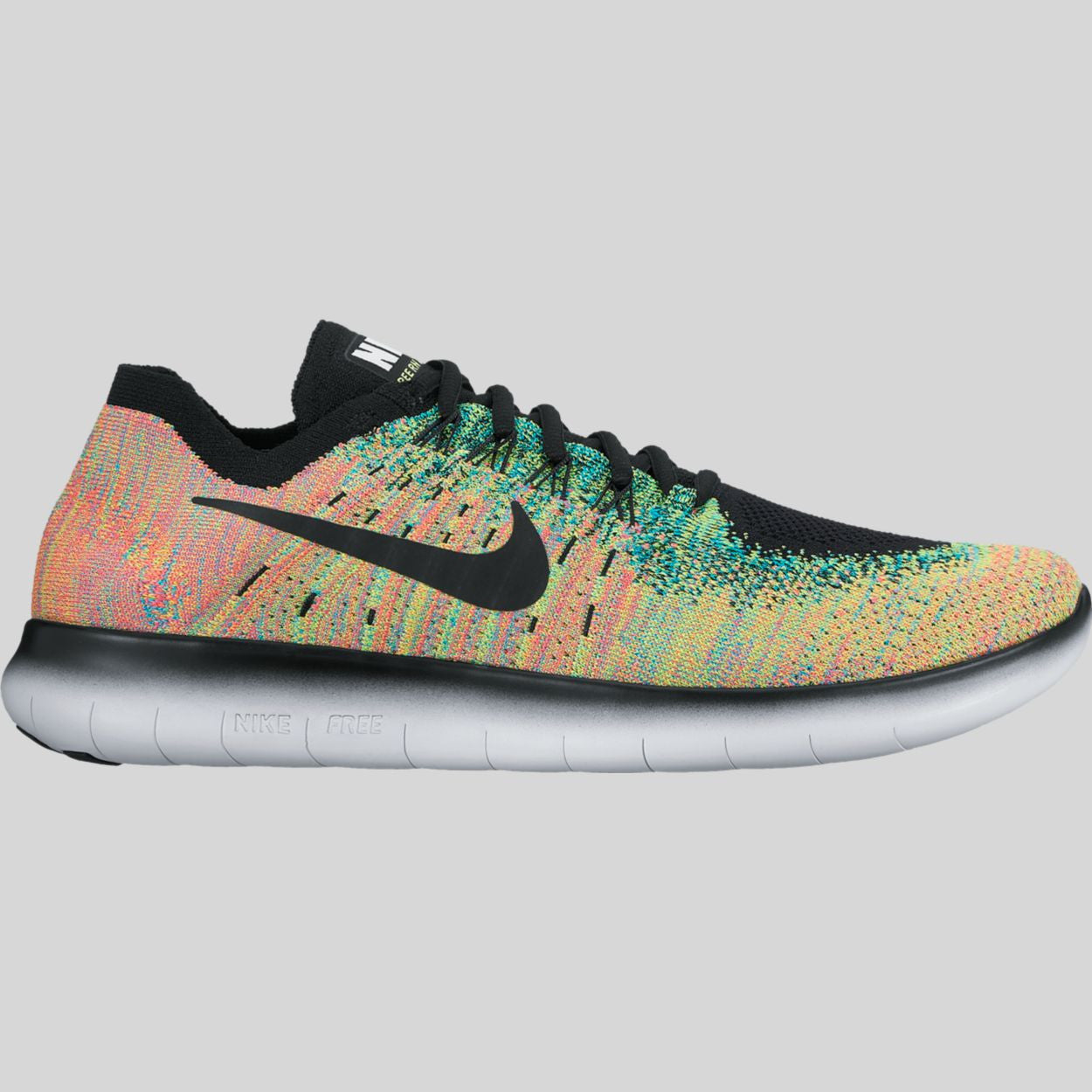 first rate 83b1c 76cae Nike Free RN Flyknit 2017 Black Blue Lagoon Hot Punch (880843-005)