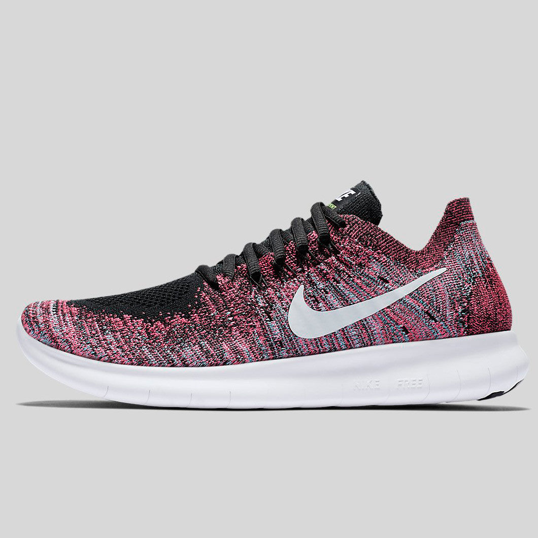 new product b6993 2135e Nike Wmns Free RN Flyknit 2017 Black White Racer Pink Gamma Blue