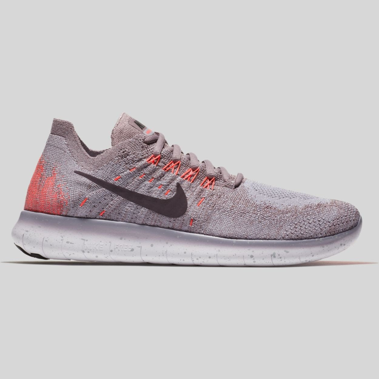 Nike Wmns Free RN Flyknit 2017 Taupe Grey Port Wine Solar Red (880844-200