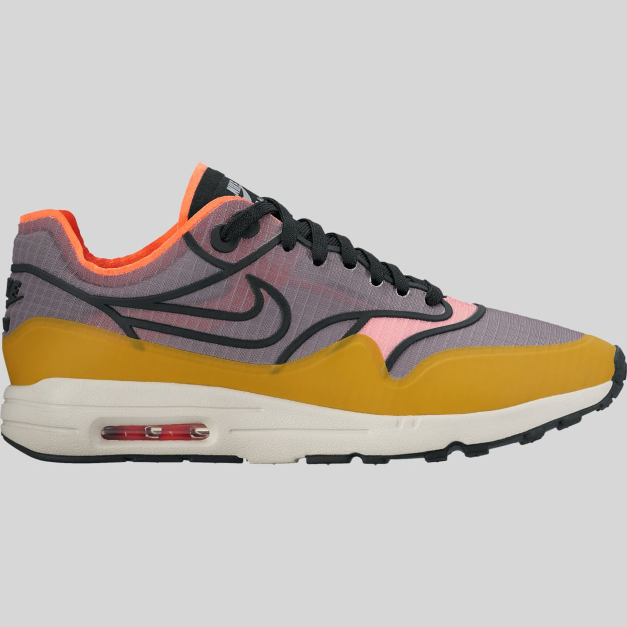 Nike Wmns Air Max 1 Ultra 2.0 SI Cool Grey Black Light Bone Total Crimson